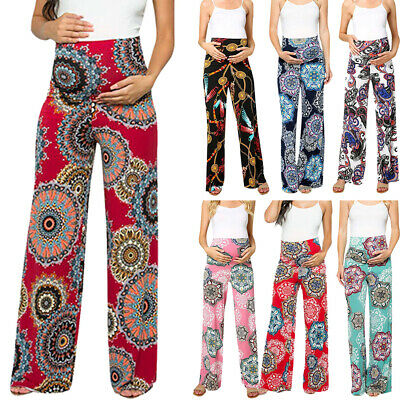 Fashion Women's Casual Maternity Floral Loose Easy Pants Pregnancy Trousers