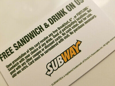(6) Subway Sandwich Combo Foot long meal Vouchers NO EXPIRATION,  FAST SHIPPING!