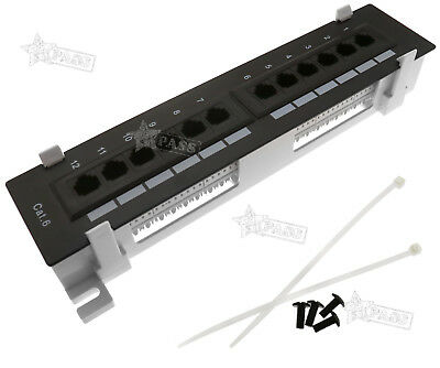 12 Port Cat6 Wall Mount Surface Mount Patch Panel Free Mounting Screw Wire Tie