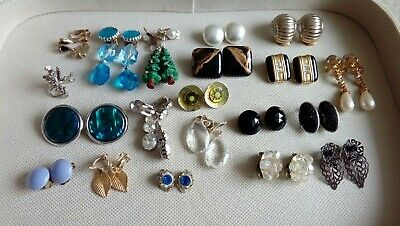 Job Lot of Vintage and Modern Clip on Earrings, 20 Pairs.