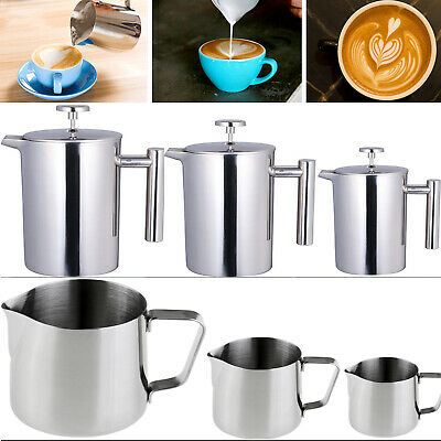 3/8/12 Cup Cafetiere Coffee Pitchers Filter Maker Plunger Milk Frother Jugs Mug
