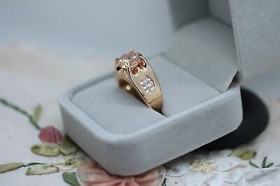 Vintage Jewellery Gold Ring Honey Topaz And White Sapphires Antique Jewelry