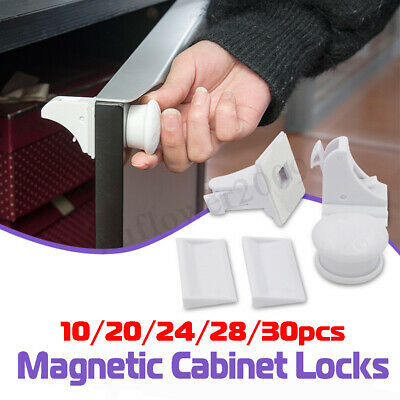 10-30 PCS Magnetic Drawer Cabinet Cupboard Locks Baby Child Kids Safety Proofing