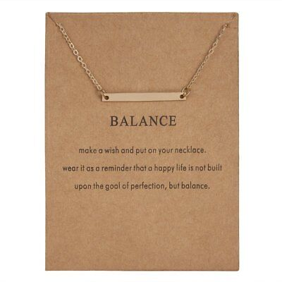 Fashion Gold Simple Balance Bar Charms Pendant Necklace Women Jewelry Gifts