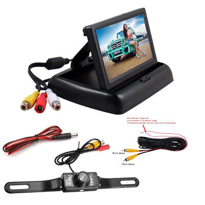 4.3'' Foldable Monitor+Wired IR Nightvision Rear View Backup Reverse Camera Kit