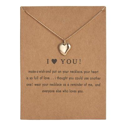 Fashion Gold Simple I Love You Charms Pendant Necklace Women Jewelry Gifts Hot