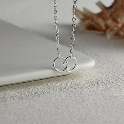 Simple Silver Double Circle Charm Pendant Chain Necklace Womens Jewellery Gifts
