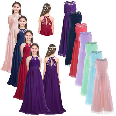 Flower Girl Princess Long Dress Gown Party Wedding Bridesmaid Formal Maxi Dress