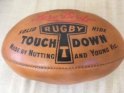 VINTAGE 1950's Leather LYRE BIRD RUGBY BALL by NUTTING AND YOUNG