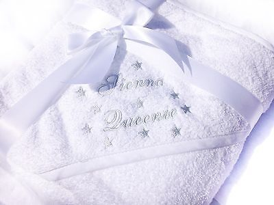 Stars Snuggle Robe, Embroidered Personalised Hooded Baby Towel