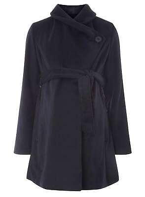 Mamalicious Maternity Navy Belted Wrap Coat Blue S