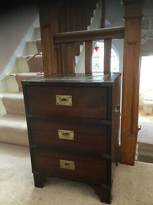 Antique Brass bound military chest with leather embossed top campaign chest