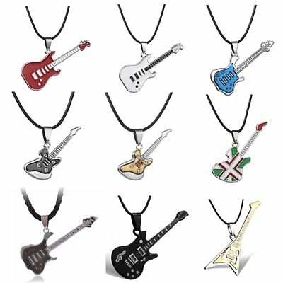 Fashion Colorful Guitar Stainless Steel Music Pendant Necklace Jewelry Men Gift