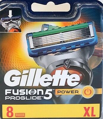 Gillette Fusion5 Proglide Power Razor Blades 8pk. NEW 100% GENUINE & FREE P&P