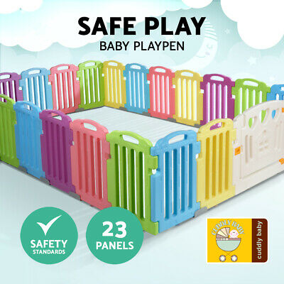 23-Panel Toddlers Playpen Interactive Kids Safety Yard Play Center Outdoor Fence