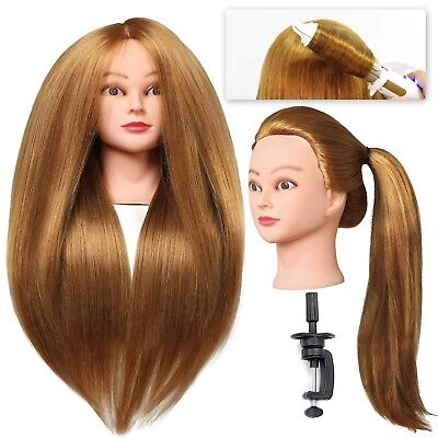 Mannequin Head With Stand Human Hair Hairstyle Hairdressing Training Cosmetology