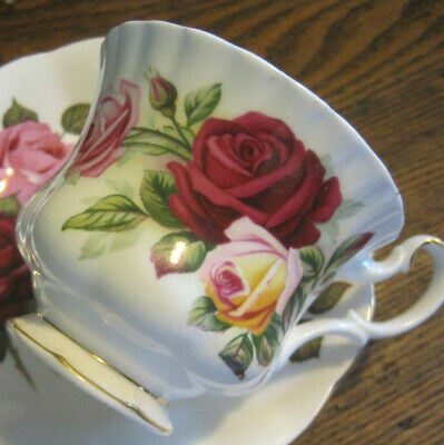 Vintage Royal Albert KINGS RANSOM CUP/SAUCER DUO-RED AND PINK ROSES