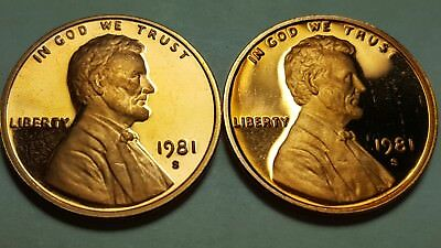 1981-S Proof Lincoln Cent Type 2 Clear 'S & Type 1 Filled S Deep Cameo Coin Set