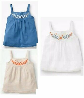 Girls Embroidered Strappy Vest Top Ex Mini Boden NEW Age 2-16 Years RRP £20