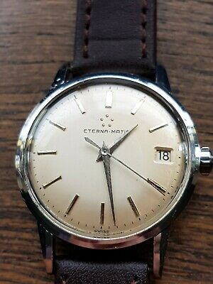 Superb Eternamatic Vintage Mens Quality  Swiss Made Watch Fully Working All SS