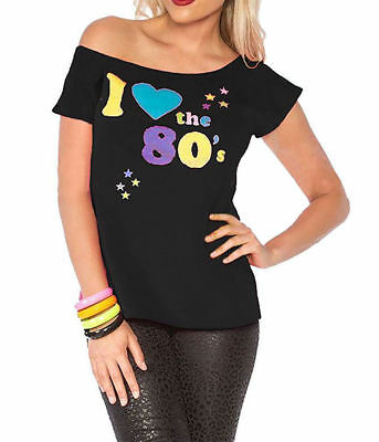 New Ladies I Love The 80s T-Shirt Fancy Dress Women Costume Neon Festival Outfit