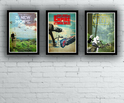STAR WARS POSTERS - A3 A4 size Quality Movie Prints Vintage / Retro Design