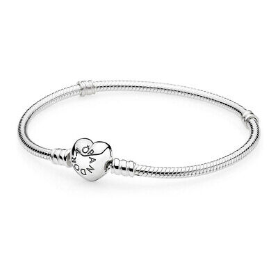 """Authentic Pandora Silver Charm Bracelet With Heart Clasp 9.1"""" 590719-23 With Box"""