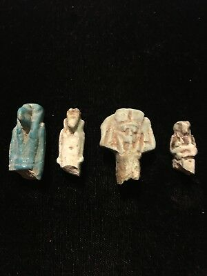 Four (4) Ancient Egyptian Pottery Carvings Figures & Amulets 3000 BC  antique