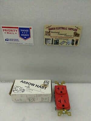 Arrow Hart Ah5362Red  Dup Receptacle Nema 5-20R 20A 125V 2P 3W(Box1809)