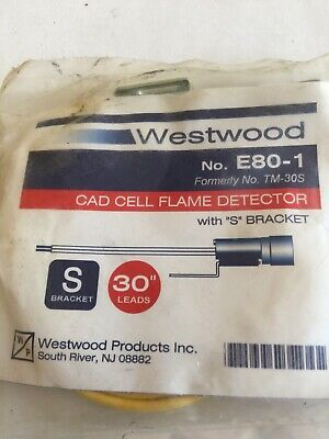 "Westwood NO. E80-1 Cad Cell Flame Detector 30"" Leads With ""S"" Bracket"