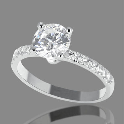 1 3/4 Ct Solitaire Round Enhanced Diamond Engagement Ring H/VS2 14K White Gold
