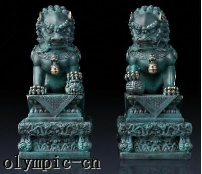 pair pure brass hand painting home FengShui guard Beast lion foo fu dog statue