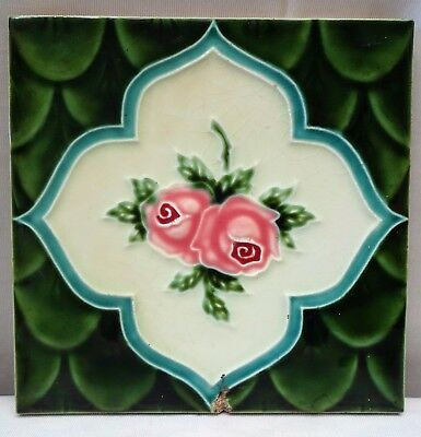 Tile Japan Majolica Art Nouveau  Saji Vintage Rose Flower Design Collectibles