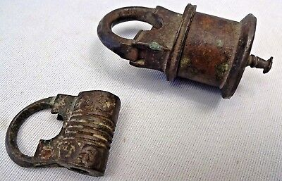 Antique Locks Brass Made In India Hand Made Engraved Collectibles Old Genuine
