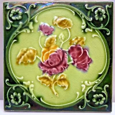 Tile Majolica Art Nouveau England Porcelain Rose Purple Architecture Collect#114