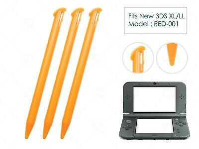 3 x Orange Plastic Replacement Pen Stylus Touch for Nintendo New 3DS XL/LL 2015+