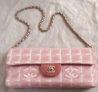 d6ff2d47791d85 Auth CHANEL Shoulder Bag Pink Matelasse New Travel Flap Logo Quilted Pouch  B2396