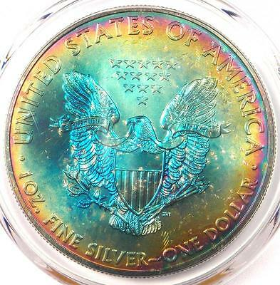 2012 Toned American Silver Eagle Dollar $1 ASE - PCGS MS68 - Rainbow Toning Coin