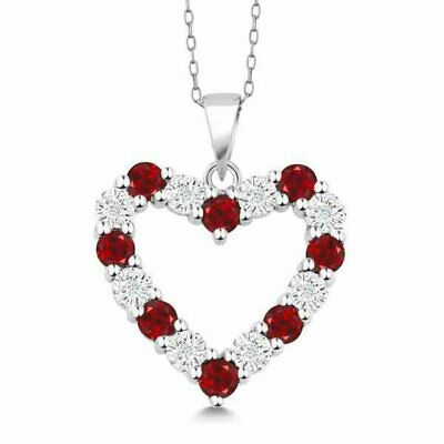 18K White Gold Plated Red Ruby White Sapphire Created CZ Heart Pendant Necklace