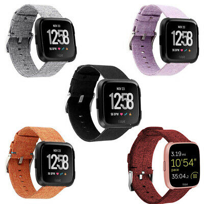 For Fitbit Versa Woven Fabric Canvas Watch Wristwatch Strap Band Metal Buckle FA