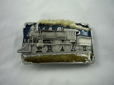 1986 Steam Engine Train Railroad Siskiyou Pewter With Enamel Belt Buckle