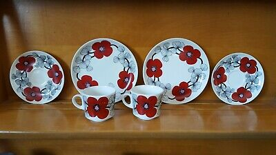 Vintage Arabia Finland Isokukka Cups and Saucers and Plates
