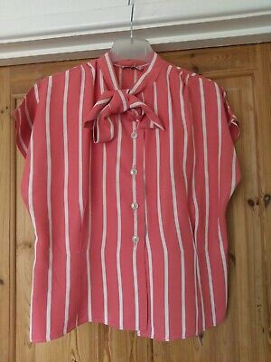 Vintage 70s Pink stripey Blouse Neck Approx 36/38 ins chest and 32ins w