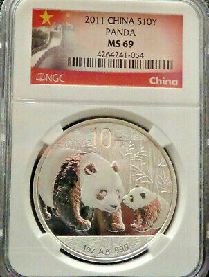 2011 1oz China Silver Panda MS69  EXCLUSVE GREAT WALL LABEL