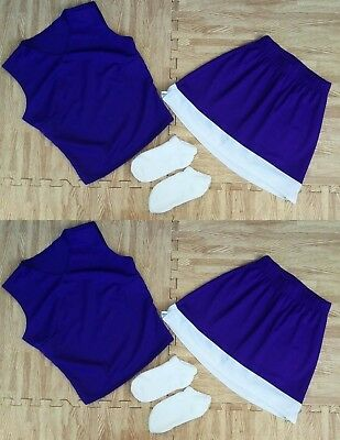 """TWIN ADULT XS S RED WHITE Cheerleader Uniform Tops Skirts 31-33//22-25/"""" Cosplay"""