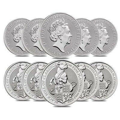 Roll of 10 - 2019 Great Britain 1 oz Platinum Queen's Beasts (Black Bull) Coin