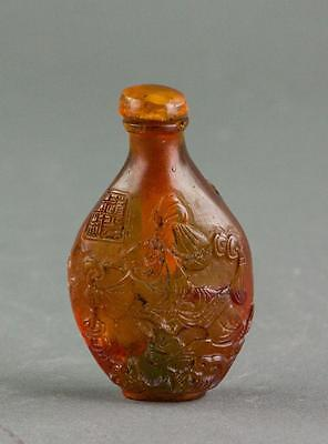 Antique Chinese Amber Carved  Snuff Bottle Daoguang Mark