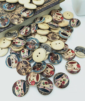 20pcs 2 Holes Mixed coffee Tony pattern Wooden Buttons Fit Sewing Scrapbook 20mm