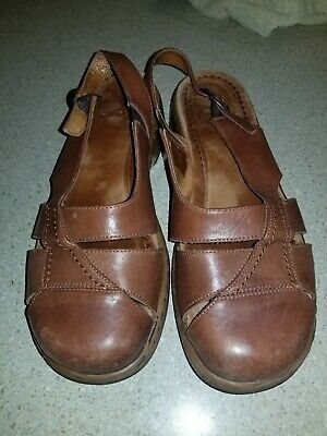 3a4b1542453 DANSKO MARGRETE WOMEN S BROWN LEATHER ANKLE STRAP CLOG SANDALS SIZE EU 40   Us 9