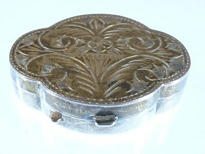 Vintage 925 Sterling Silver Engraved Trinket Pill Box 17g pb4